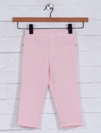 Peach solid cotton capri for girls