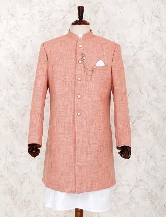 Peach solid jute fabric mens indo western