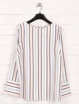 Peach stripe cotton top