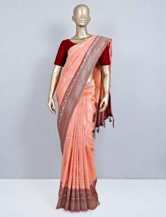 Peach wedding special muga silk saree