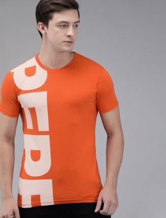 Pepe Jeans orange cotton mens printed t-shirt