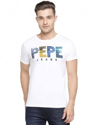 Pepe Jeans regular white printed t-shirt