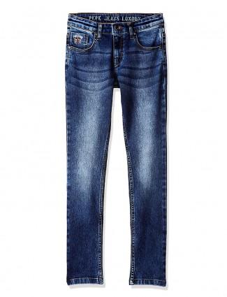 Pepe Jeans solid navy hue slim fit jeans