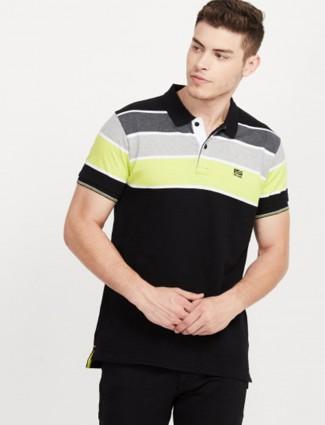 Pepe Jeans stripe black polo neck t-shirt