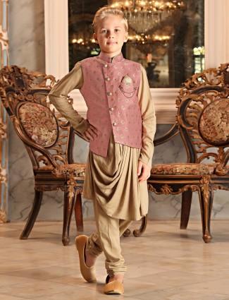 Pink and beige wedding wear designer waistcoat set