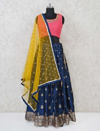 Pink and navy raw silk wedding wear lehenga choli