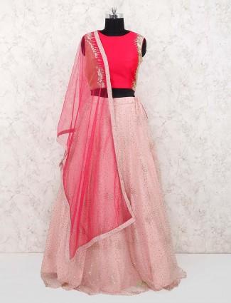 Pink and red net fabric lehenga choli