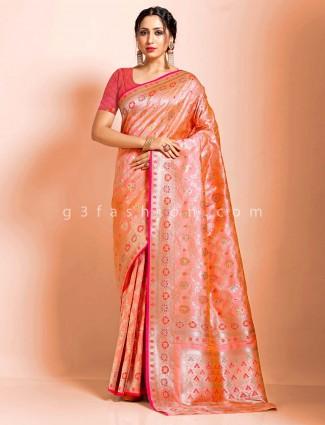 Pink art banarasi silk meenakari work wedding saree