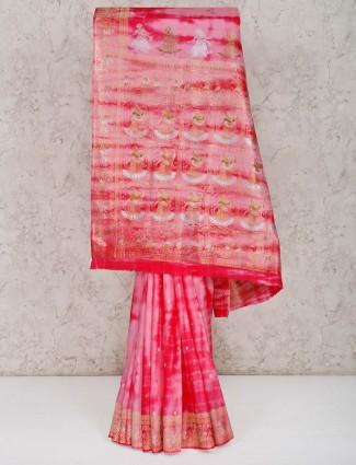 Pink banarasi silk saree for weding