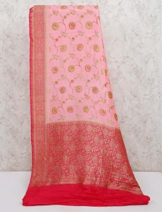 Pink banarasi silk saree in reception
