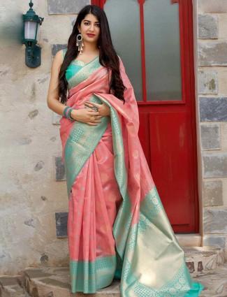 Pink banarasi silk wedding function saree