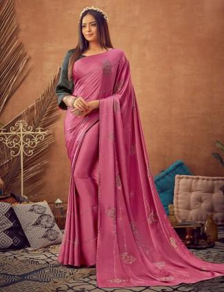 Pink beautiful satin reception saree