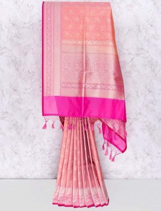 Pink banarasi silk saree in festive function