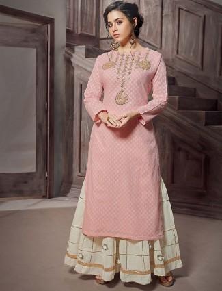 Pink color cotton fabric punjabi sharara suit