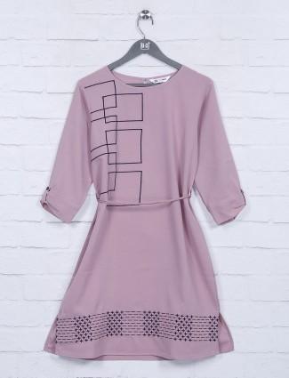 Pink color cotton farbic round neck top