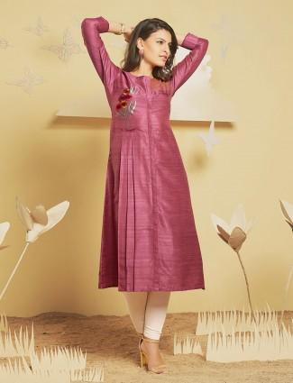 Pink color cotton silk fabric kurti for festive wear