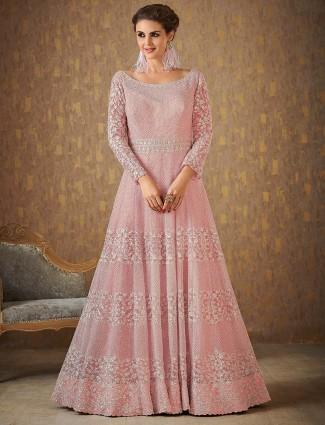 Pink color floor length pakistani wedding anarkali suit
