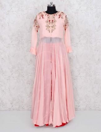 Pink color georgette fabric lehenga cum salwar suit