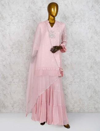 Pink color lovely punjabi sharara suit in georgette