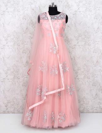 Pink color net floor length anarkali salwar suit