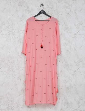 Pink color pretty cotton festive kurti set