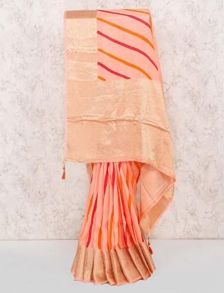 Pink color pretty cotton silk leheriya style saree