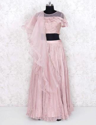 Pink color pretty georgette lehenga choli