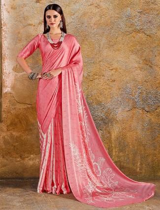 Pink color pretty japan crepe printed saree