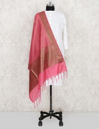 Pink color pretty silk women dupatta
