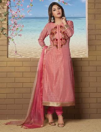 Pink color punjabi salwar suit chanderi silk