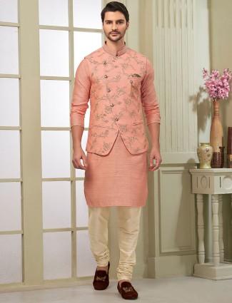 Pink color raw silk fabric mens waistcoat set