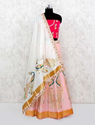 Pink color silk semi stitched lehenga choli