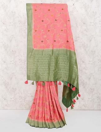 Pink color wedding cotton fabric saree