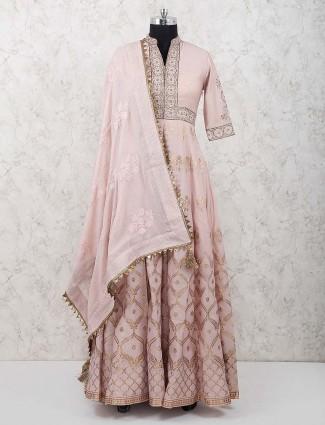 Pink colored designer wedding wear anarkali suit