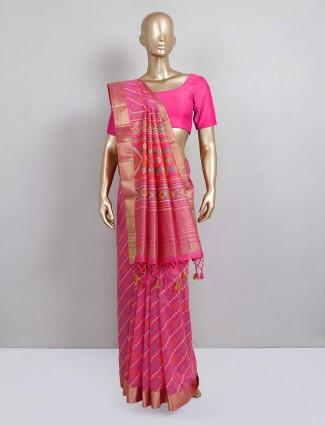 Pink colored sari in cotton silk fabric
