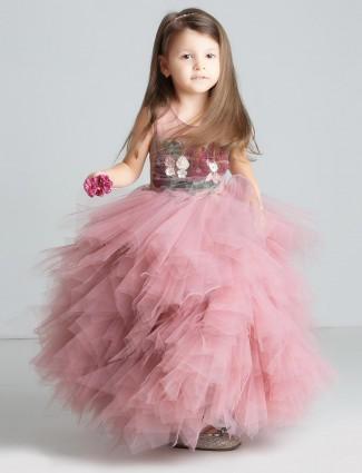 Pink colored wedding wear designer gown