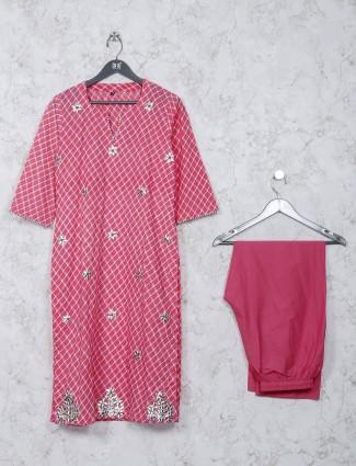 Pink cotton checks pattern casual kurti set