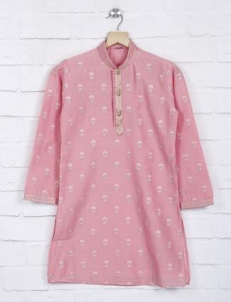 Pink cotton fabric festive kurta suit