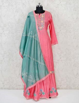 Pink cotton festive wear lehenga suit
