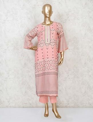 Pink cotton printed punjabi pant suit
