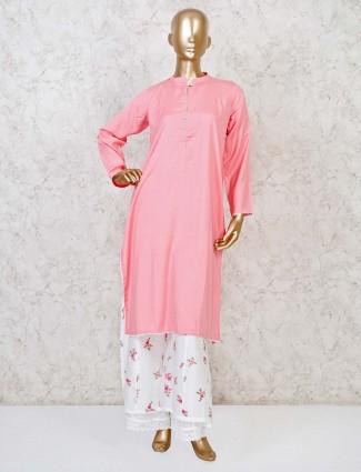 Pink cotton silk chinese neck palazzo set