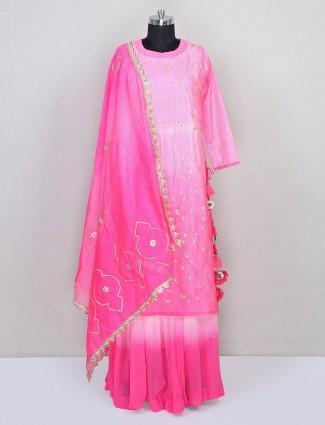 Pink cotton silk designer salwar kameez