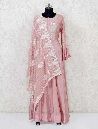 Pink cotton silk floor length anarkali suit for festive