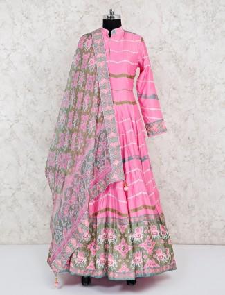 Pink cotton silk floor length anarkali suit with dupatta