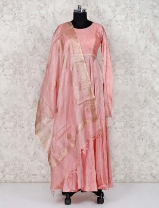 Pink cotton silk pretty anarkali salwar suit