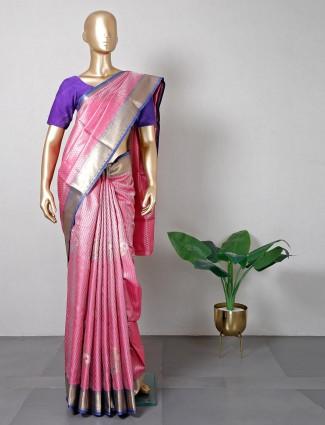 Pink banarasi cotton silk saree for festive session