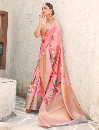 Pink cotton silk saree for wedding days