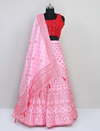 Pink cotton silk thread work lehenga for wedding