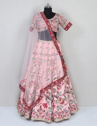 Pink cotton silk v neck lehenga choli