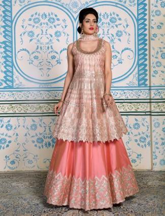 Pink cotton silk wedding lehenga suit